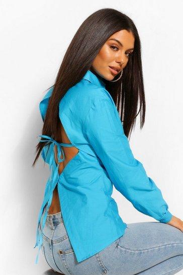 Azure blue Blue Cotton Poplin Open Back Fitted Shirt