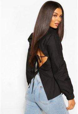 Black Cotton Poplin Open Back Fitted Shirt