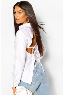 White Cotton Poplin Open Back Fitted Shirt