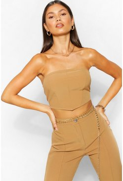 Camel beige Tailored Seam Detail Bandeau Top