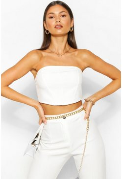 White Tailored Seam Detail Bandeau Top