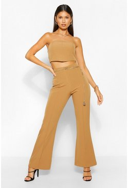 Camel beige Tailored Seam Detail Flare Trouser