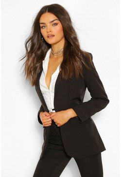 Black Tailored O Ring Detail Blazer