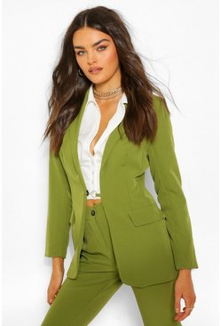 Olive green Tailored O Ring Detail Blazer