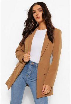 Chocolate brown Single Breasted Shoulder Pad Blazer