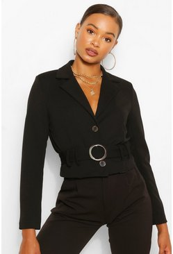 Black Crop Mock Horn Buckle Belted Blazer