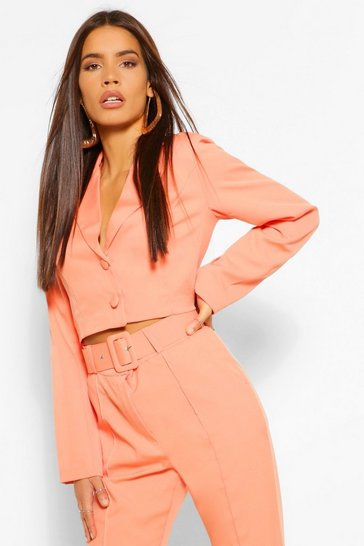 Orange Woven Crop Button Blazer