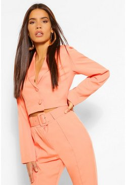 Wrap Crop Blazer & Skinny Trouser Suit Set