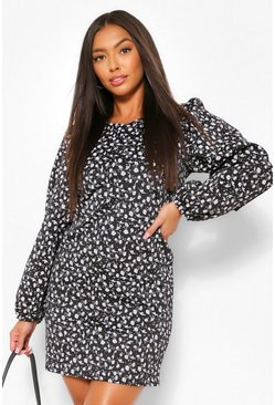 Black Floral Puff Long Sleeve Shift Dress