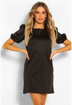 Black Puff Sleeve Shift Dress