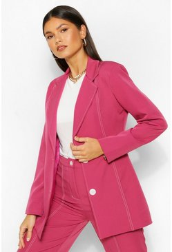 Raspberry pink Tailored Contrast Seam Fitted Blazer