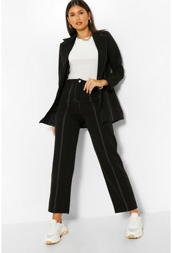 Black Tailored Contrast Seam Straight Pants