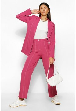 Raspberry pink Tailored Contrast Seam Straight Pants
