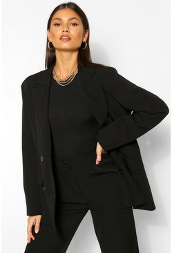 Black Tailored Double Breasted Button Blazer