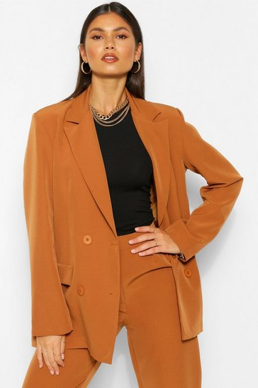 Caramel beige Tailored Double Breasted Button Blazer