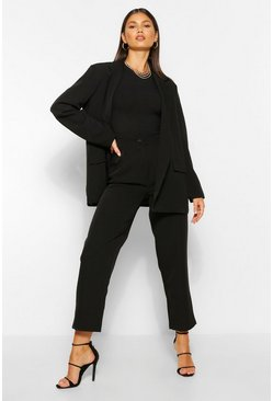 Black Tailored Pleat Detail Straight Trousers