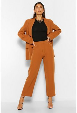 Caramel beige Tailored Pleat Detail Straight Trousers