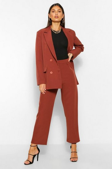 Maroon red Tailored Pleat Detail Straight Trousers