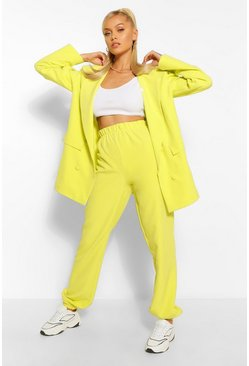 Chartreuse yellow Geweven Getailleerde Joggingbroek