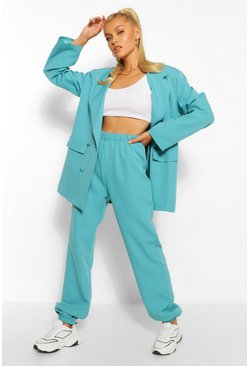 Turquoise blue Geweven Getailleerde Joggingbroek