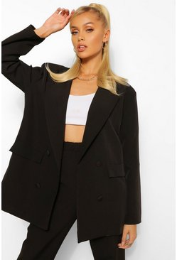 Black Boxy Oversized Double Breasted Dad Blazer