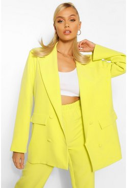 Chartreuse yellow Boxy Oversized Double Breasted Dad Blazer