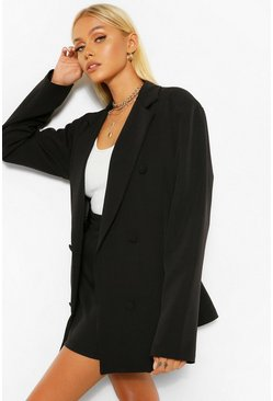 Black Tailored Long Line Oversized Dad Blazer