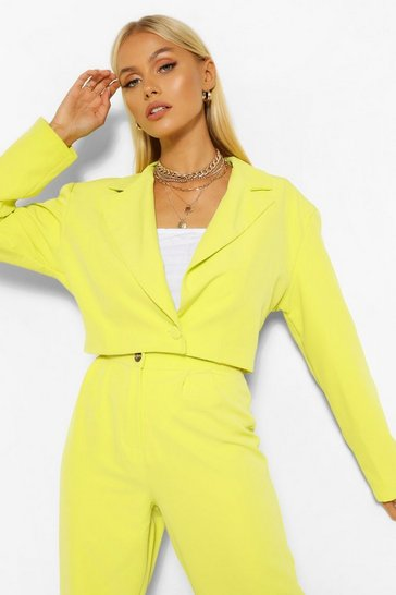 Chartreuse yellow Tailored Power Shoulder Crop Blazer