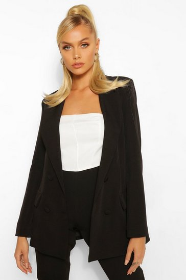 Black Woven Double Breasted Pocket Blazer