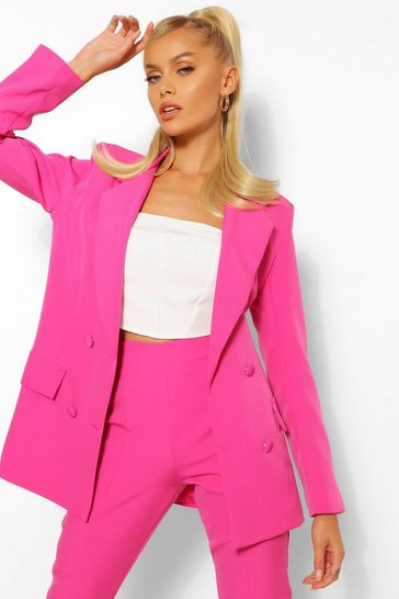 Hot pink pink Woven Double Breasted Pocket Blazer