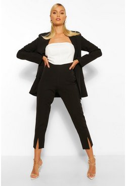 Black Split Hem Tailored Skinny Trousers