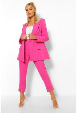 Hot pink pink Split Hem Tailored Skinny Trousers