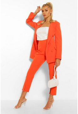 Orange Split Hem Tailored Skinny Trousers
