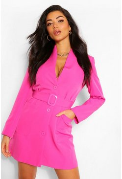 Hot pink pink Belted Pocket Detail Blazer Dress
