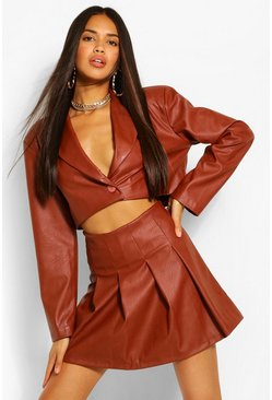 Faux Leather Pleated Mini Skirt, Chocolate