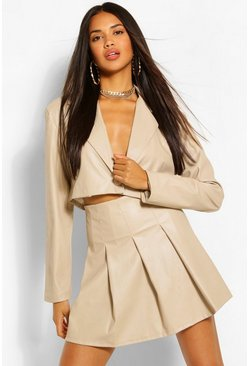 Stone beige Faux Leather Pleated Mini Skirt