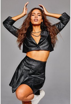 Faux Leather Crop Blazer, Black