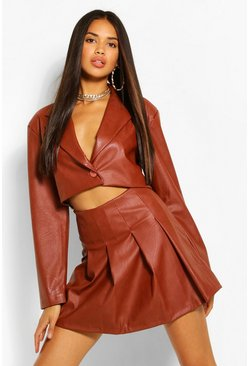 Chocolate brown Faux Leather Crop Blazer