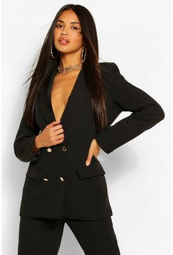Military Button Blazer, Black