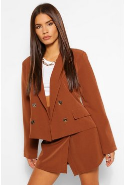 Chocolate brown Woven Mock Horn Button Boxy Blazer