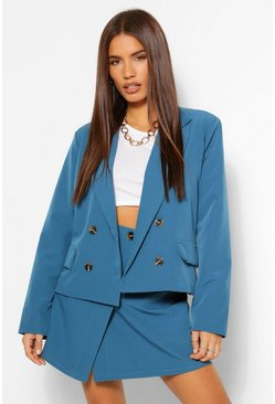 Mock Horn Blazer, Trouser & Skirt Suit Set