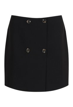 Black Tailored Mock Horn Button Wrap A Line Skirt