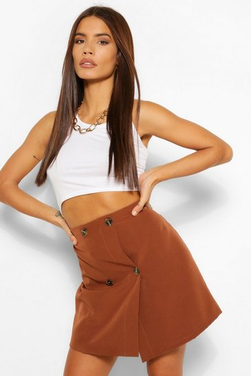 Chocolate Tailored Mock Horn Button Wrap A Line Skirt