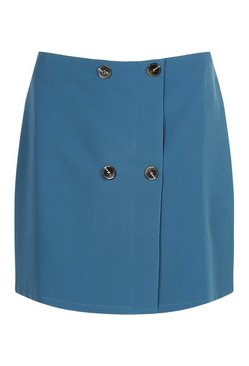 Teal Tailored Mock Horn Button Wrap A Line Skirt