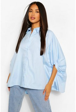 Oversized-Shirt aus Webstoff, Blau