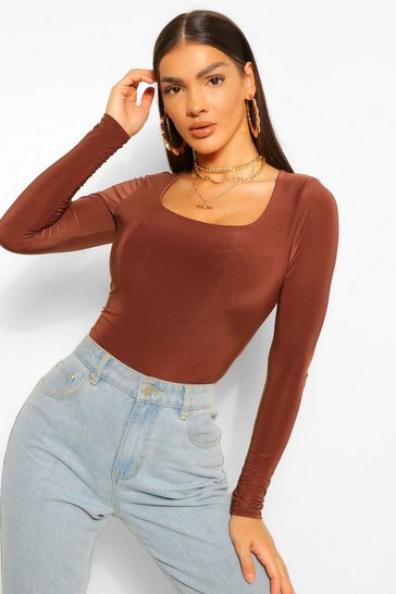 Chocolate brown Brown Double Layer Scoop Neck Bodysuit