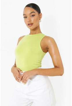 Chartreuse yellow Double layer racer bodysuit