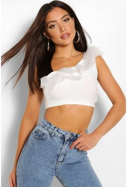 White Organza ruffle one shoulder crop top