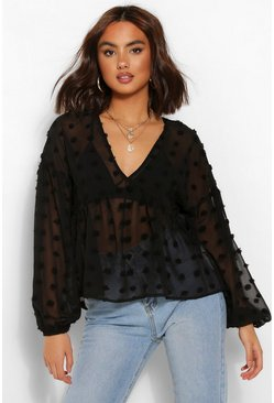 Black Woven dobby smock top