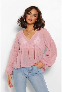 Blush Woven dobby smock top